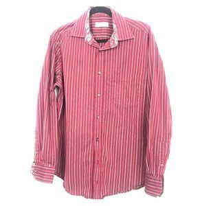 Bugatchi Uomo mens burgundy striped shirt shaped L